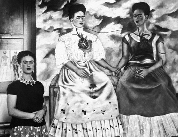 "Kahlo with ""Me Twice"" October 24, 1939 (Bettmann/CORBIS)"
