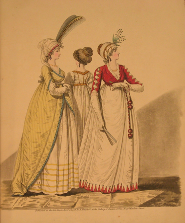 Illustration from Gallery of Fashion, 1798.