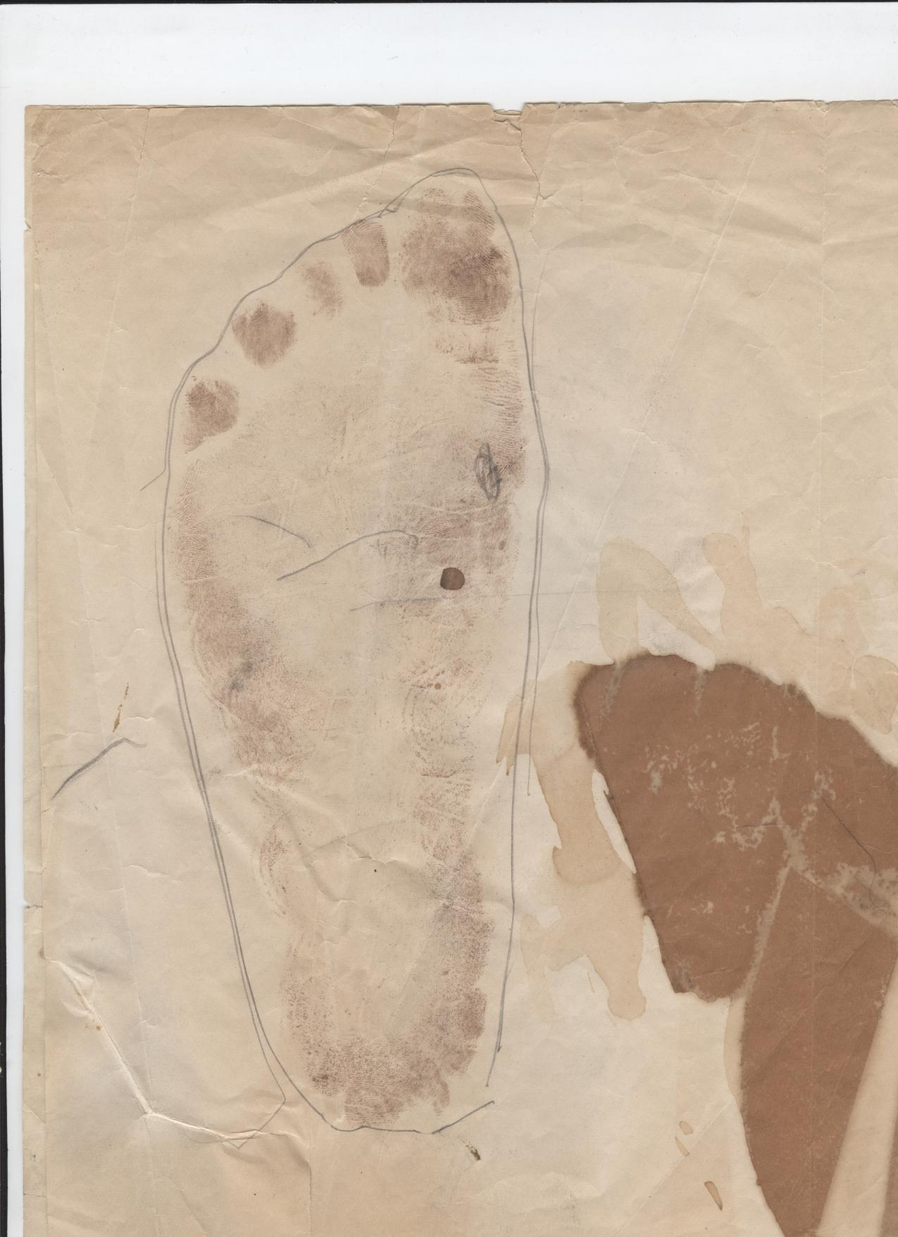 Mae West Foot Print for Custom Shoe. c. 1945. Gift of Kevin Thomas in Memory of Dolly Dempsey. FIDM Museum Collection. Copyright FIDM Museum.