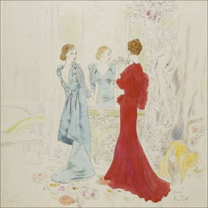 February 15, 1934, Vogue, Cecil Beaton sketch of Schiaparelli (Blue) and Worth (Red) gowns.