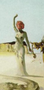 Detail from Three Young Surrealist Women Holding in Their Arms the Skins of an Orchestra, Salvador Dali, 1936