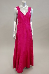 a Moire evening gown in Shocking Pink (Currently at Live Auction)
