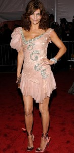 Helena Christensen at the Met Costume gala, 2009, shilling for Vogue