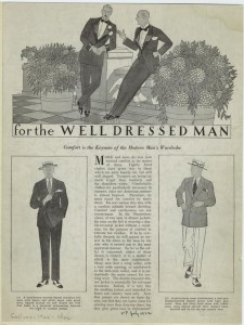 """For the well dressed man : comfort is the keynote of the modern man's wardrobe."" Note the boxy but narrow silhouette with creeping hemlines. 1922"