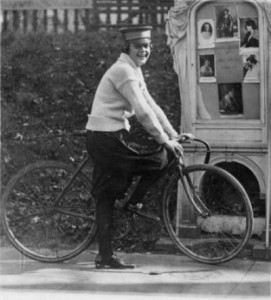 "Woman on bicycle, 1922. Original caption: ""No more messenger boys for the National Woman's Party--from president to messenger all the members of the staff are feminine. This is in accordance with the stipulation of Mrs. Belmont when she donated the National Women's [i.e., Woman's] Party headquarters. Photo of Julia Obear, messenger."""