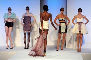 Women's wear designs by Julia Blum, a student whose designs were shown at The Parsons Fashion Benefit.
