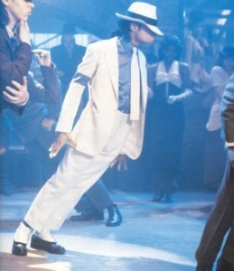 Michael Jackson in Smooth Criminal, wearing white suit with spats and fedora