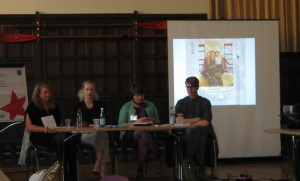 (from left to right) Aurelie Van de Peer, Ane Lynge-Jorlen, Claire Allen, and Johannes Reponen