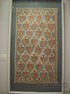 Quilt Facing, 17th-19th Century (Ottoman), Linen plain weave wilk silk embroidery in surface darning stitch, Made in Turkey.