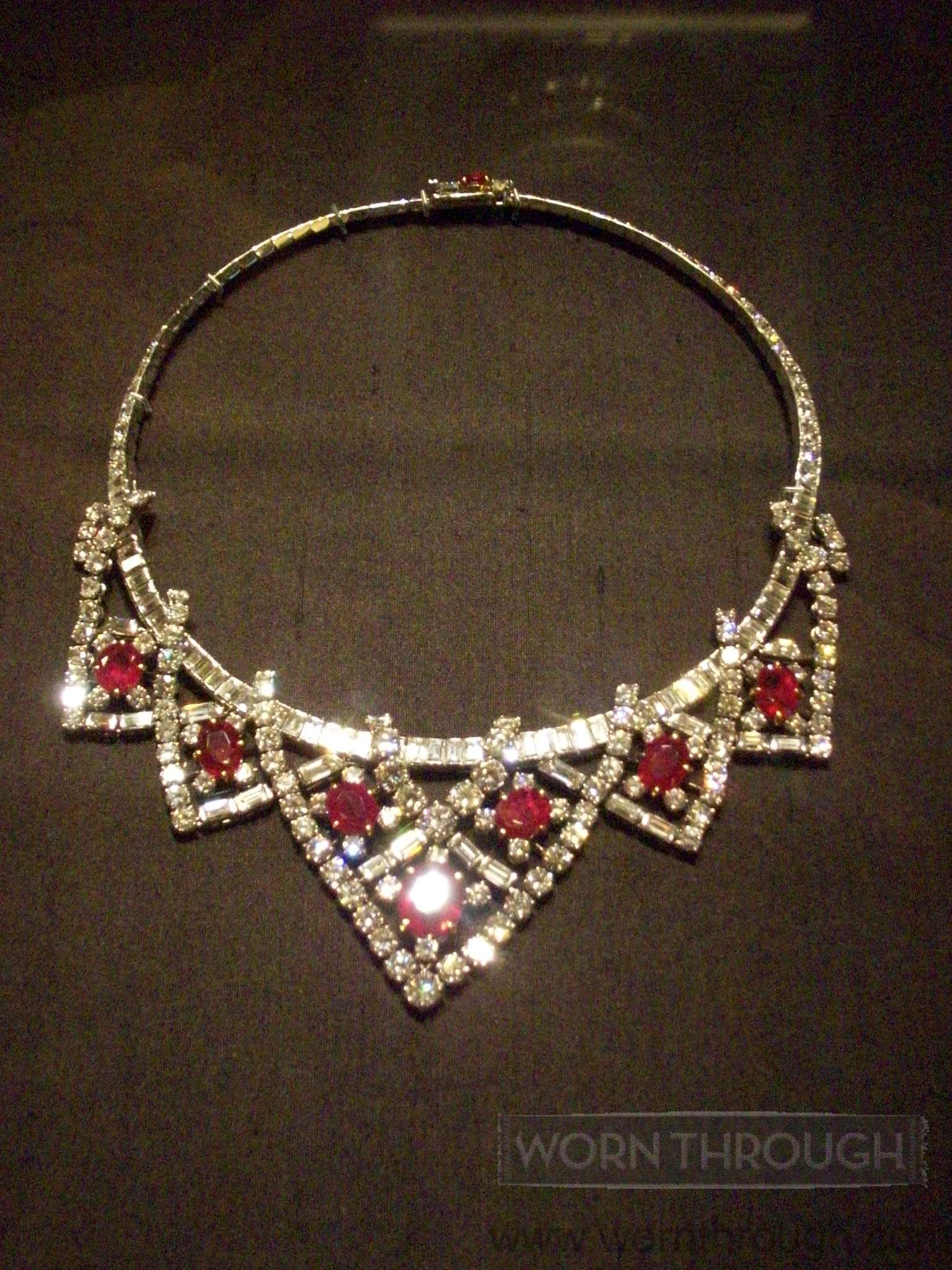 Necklace, Cartier Paris, 1951. Rubies, diamonds, and platinum. Sold to Mike Todd in 1957. Collection of Dame Elizabeth Taylor. Photograph by Heather Vaughan