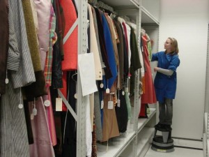 Meghan Grossman Hansen, FIDM Registrar, moving Museum Permanent Collection into compact storage, 2008