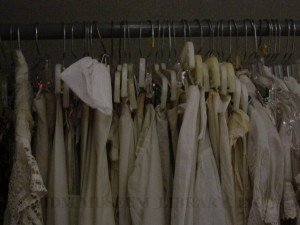 Petticoats before archival hangers, FIDM Museum, 2006