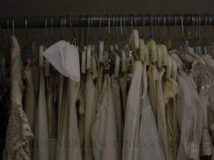Petticoats before archival hangers, FIDM Museum, 2006