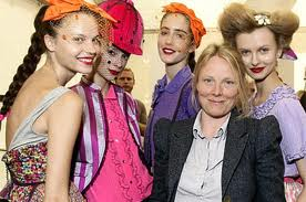 Luella Bartley with models at a runway presentation