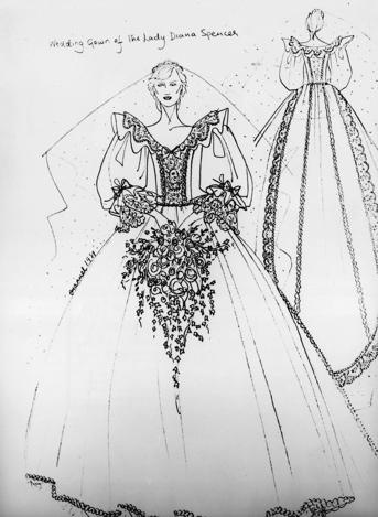princess diana wedding dress tour. Sketch of Princess Diana#39;s