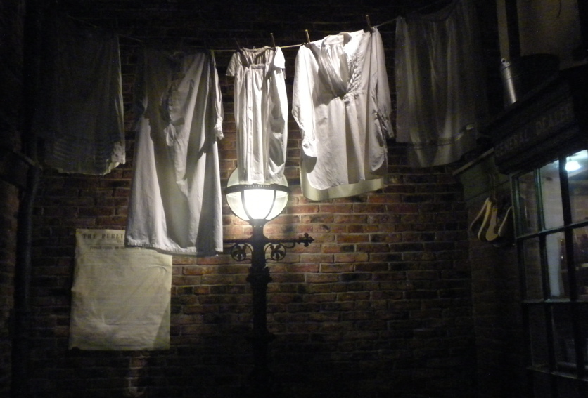 Nineteenth century undergarments hang on the line in Kirkgate Street, York Castle Museums recreation Victorian street
