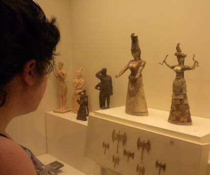 Admiring the Snake Goddess at the Archaeological Museum of Heraklion, Crete
