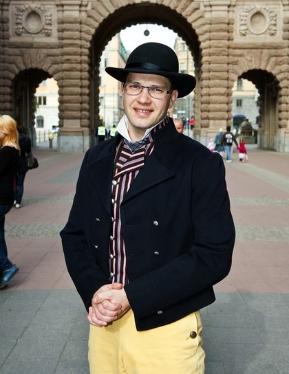 Sweden Democrat Party Leader Jimmie Åkesson in traditional folkdräkt from his native Skåne. From Daniel Björk's website. Photo: Christian Örnberg.