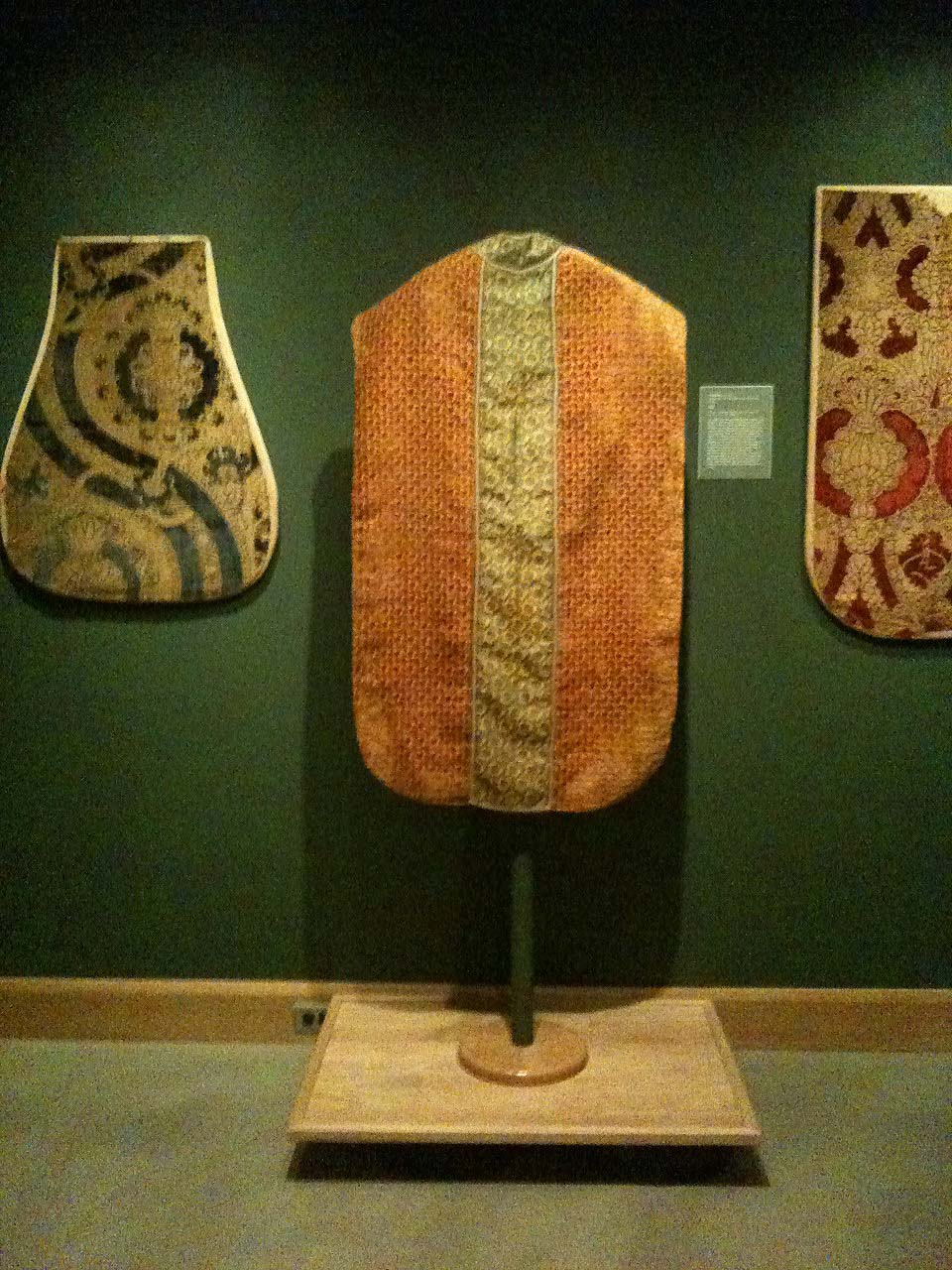Chasuble, late 1500s.  Italian voided silk velvet and silk brocade with linen lining.  Allentown Art Museum.