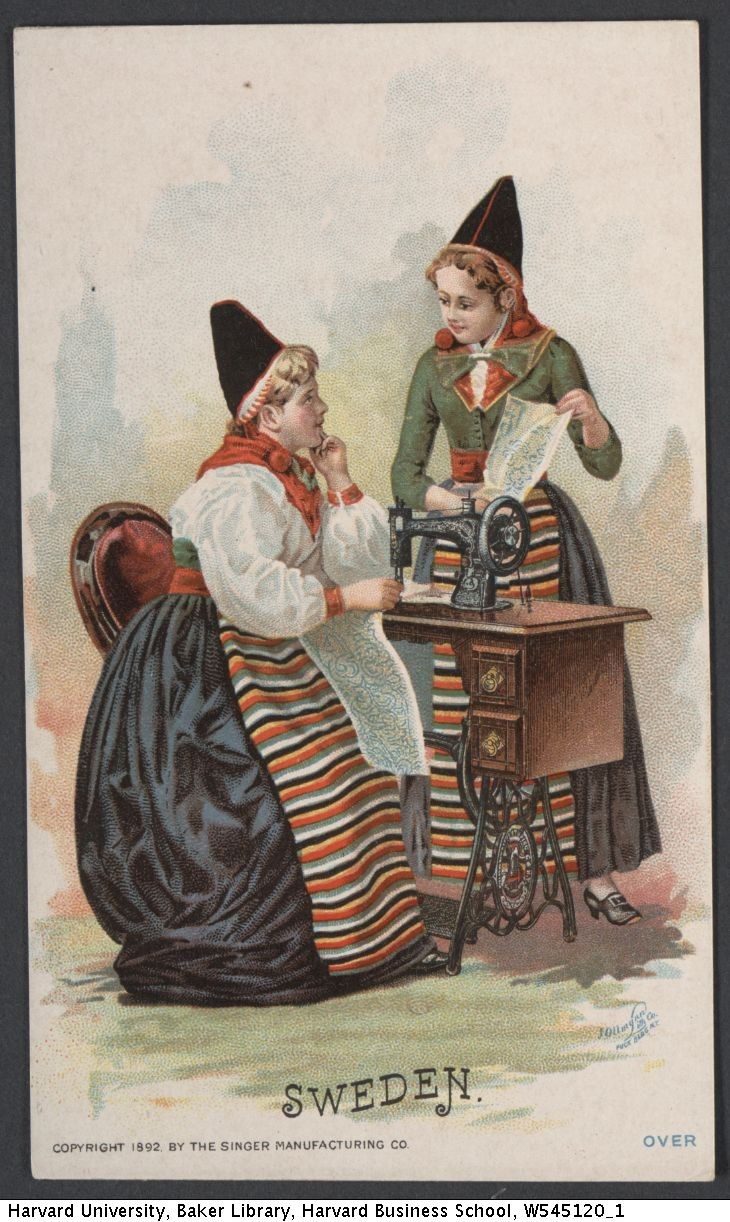 Singer Trade Card depicting two women from Dalarna, 1893. From the Baker Library at Harvard University.
