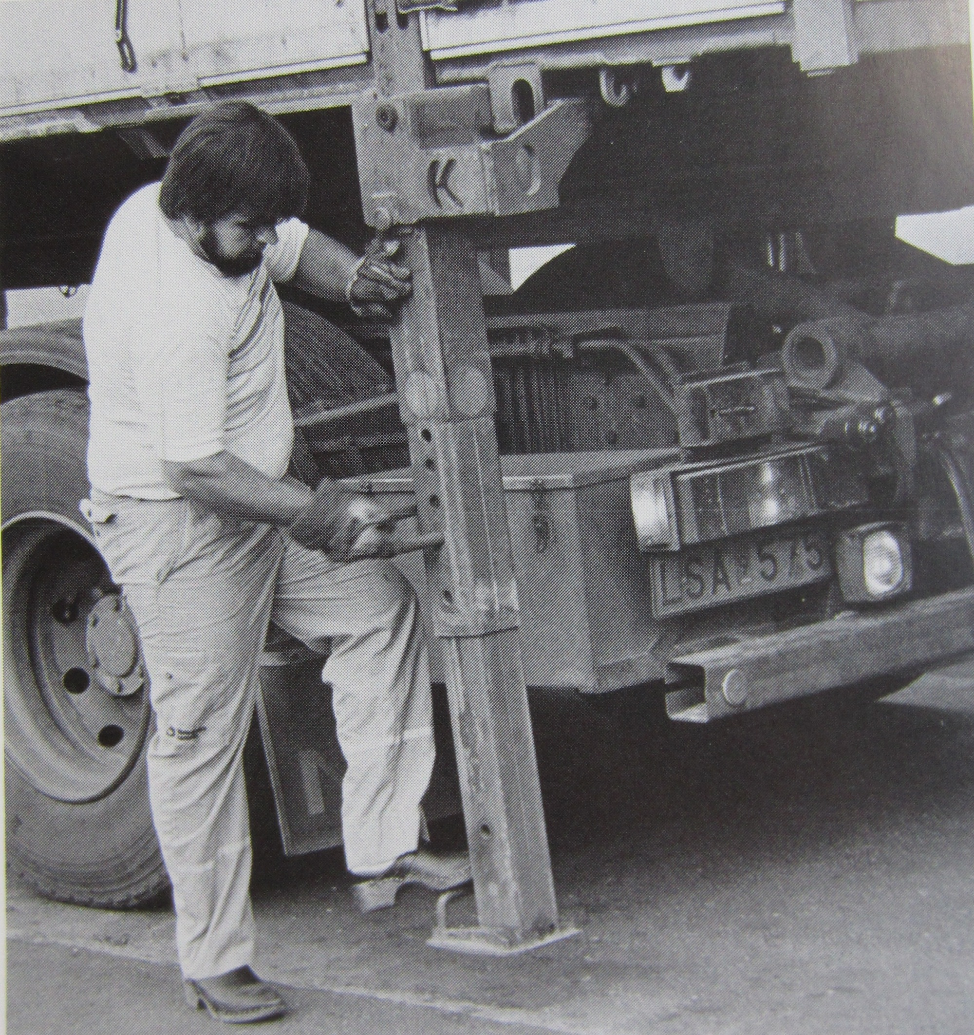 "Christer Sandin, Truck Driver, goes through the daily motions while a researcher follows and documents. Note the footwear. Taken in 1986. Published in ""Åkarens Vardag""."