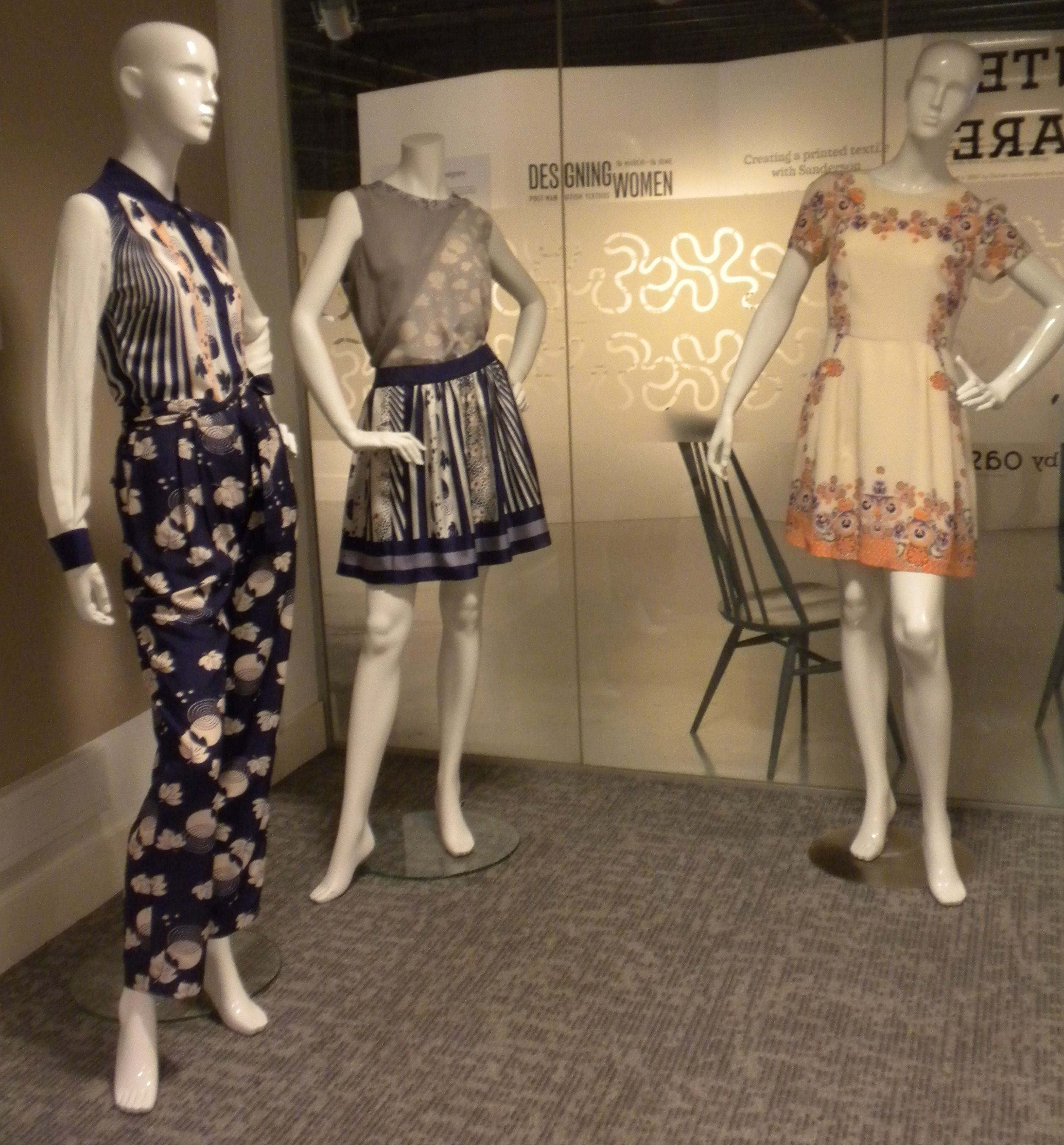 A display of garments inspired by vintage handkerchief prints at the Fashion and Textile Musuem
