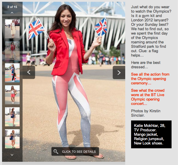 Screenshot of Elle UK's feature on streetstyle at the London 2012 Olympic Games