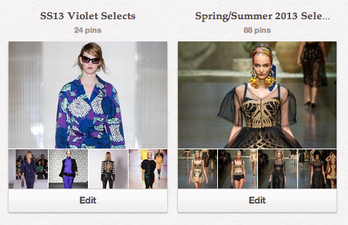 Pinterest boards I created to archive looks from Fashion Week Spring Summer 2013