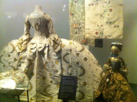 Display of 18th century dress at the V&A's Fashion Gallery