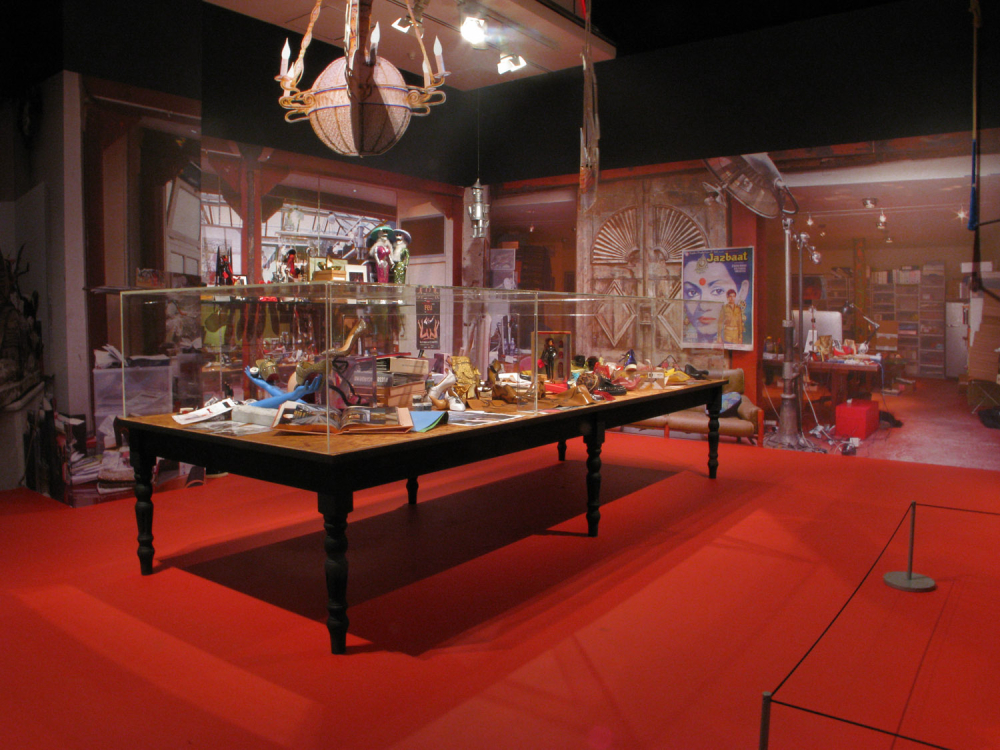 Installation view of Christian Laboutin's workshop display at the Design Museum
