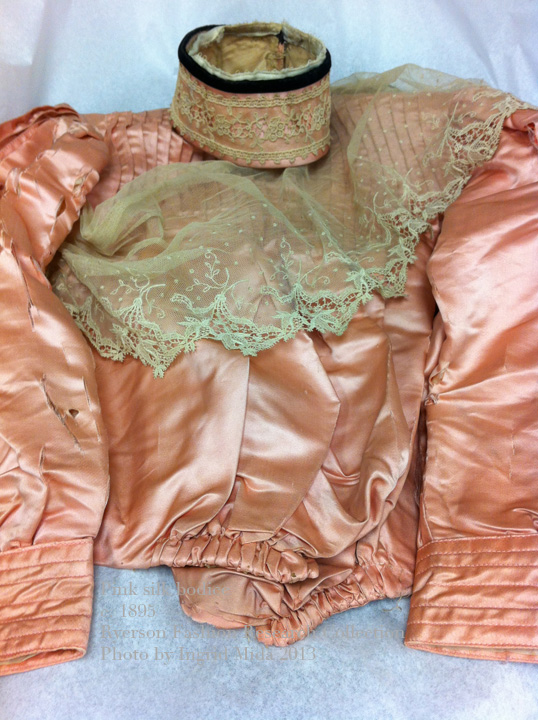 1895 Pink silk bodice with lace trim Ryerson Fashion Research Collection  Photo by Ingrid Mida 2013