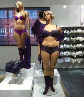 "Photo of ""plus-sized,"" ""full-figured,"" ""zaftig,"" ""insert-your-euphemism-here"" mannequins at Swedish department store Åhléns, 2010. Photo: Rebecka at www.becka.nu/."