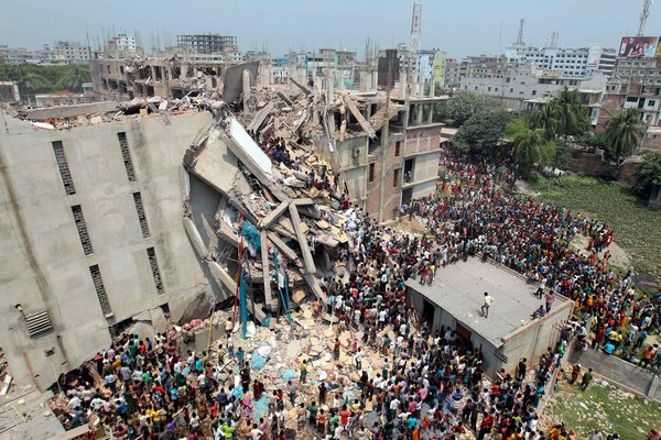 Collapsed factory building, Rana Plaza, in Savar, Bangladesh, 2013. Photo: A.M. Ahad/AP.