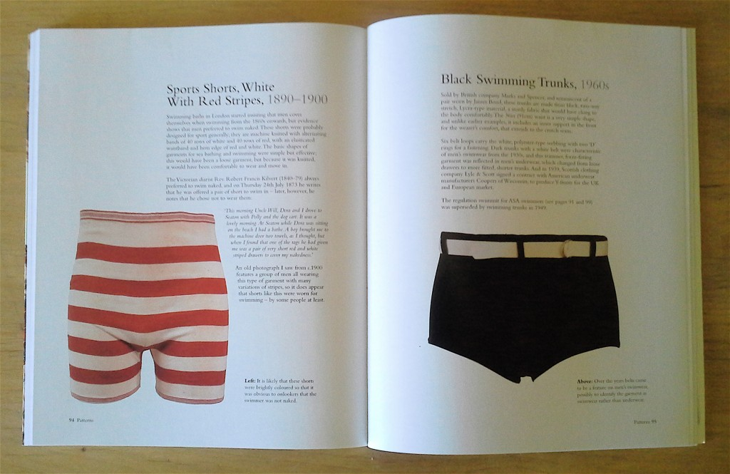 "Men's Swimwear: ""Sports Shorts, White With Red Stripes, 1890-1900"" and ""Black Swimming Trunks, 1960s."" pp 94-95, ""Vintage Swimwear."""