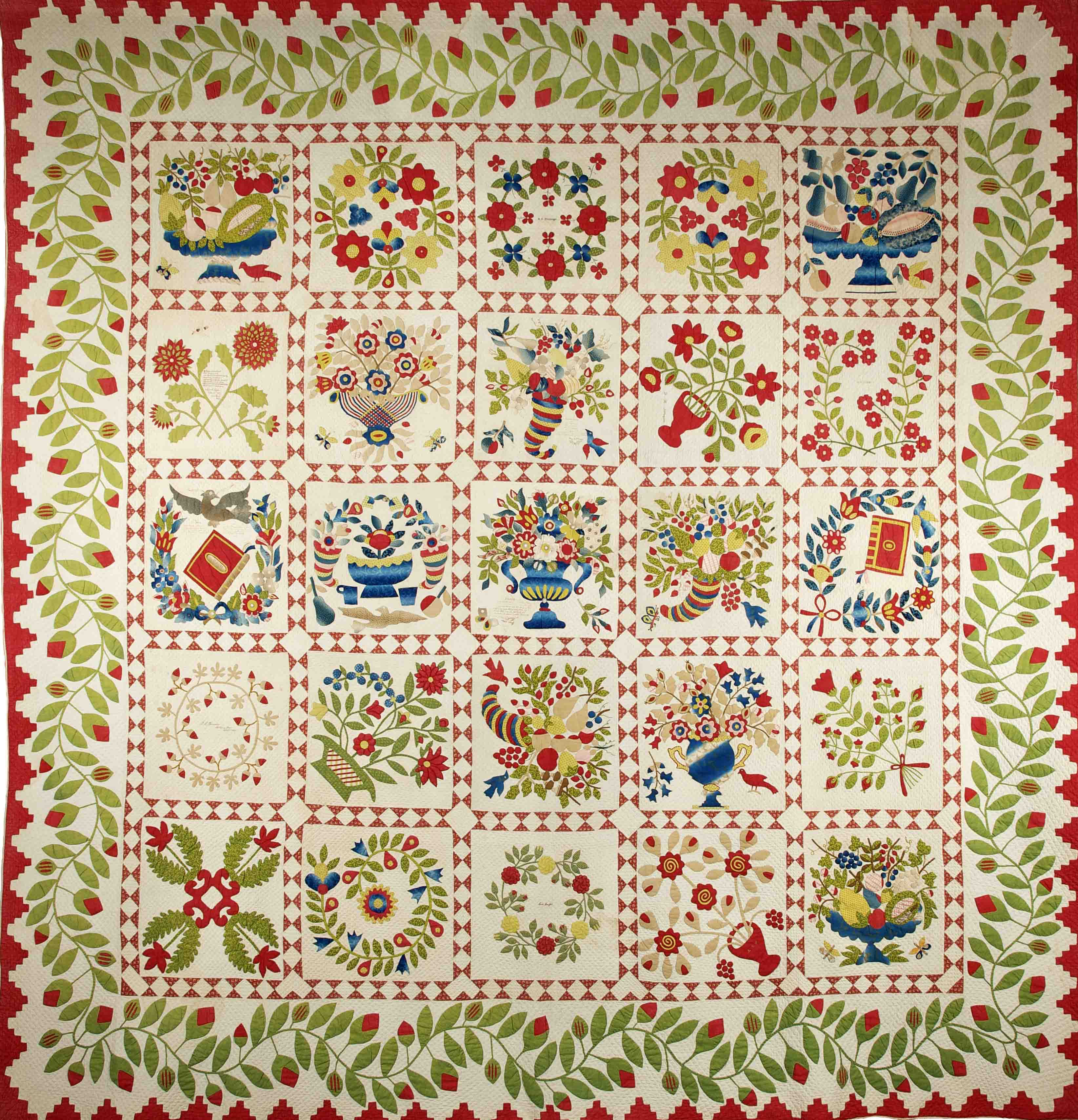 Baltimore Album Quilt, 1847 Flamboyant gifts made for display rather than domestic use. Copyright: American Museum in Britain