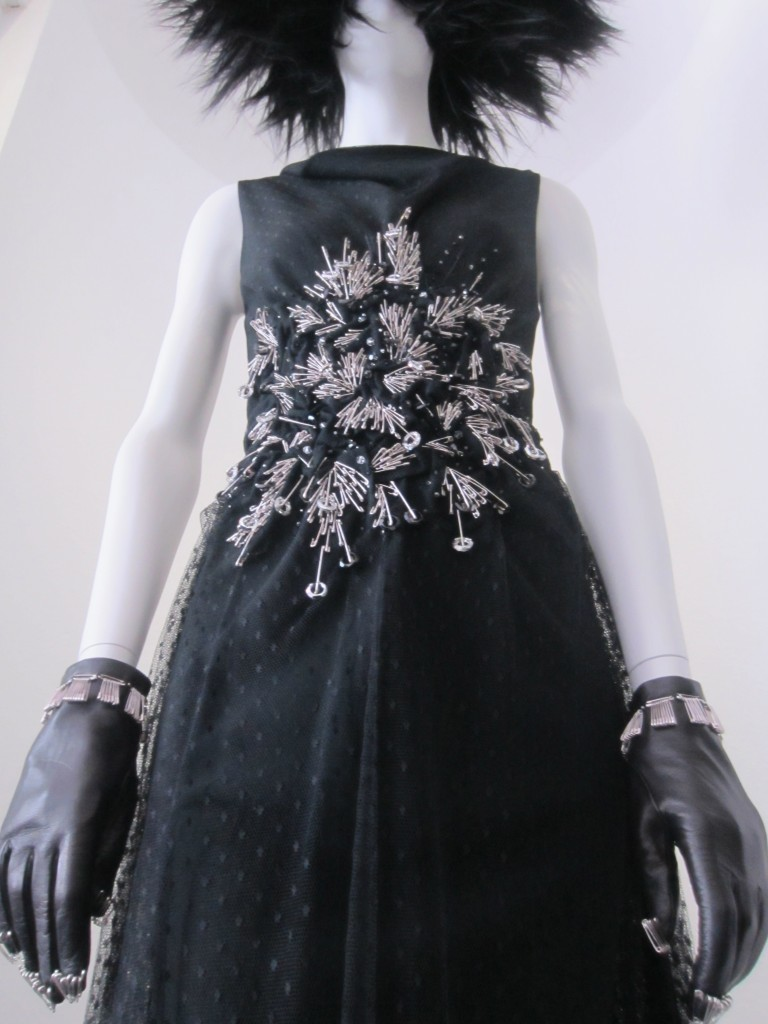 Moschino Dress A/W 2009-10 Embroidered with Safety Pins, Punk: Chaos to Couture DIY Hardware Gallery, Photo by Ingrid Mida 2013