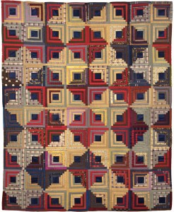 Log cabin Quilt, 1875-1900 One of the most popular American quilting pattern. Copyright: American Museum in Britain