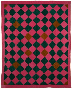 One Patch Quilt: Diamonds variation, 1969 Gee's Bend quilts design by the Afro American community.