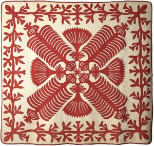 Queen Kapi'olani's Fan Quilt, Early 20th Century Traditional Hawaiian pattern. Copyright: American Museum in Britain