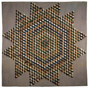 Tumbling Blocks Star Quilt, 1852 Made For the New Jersey State Fair. Copyright: American Museum in Britain