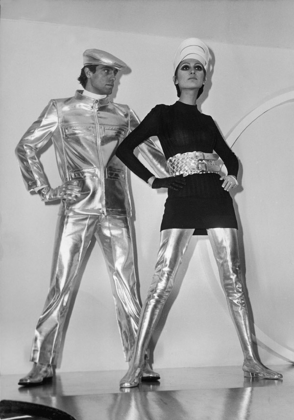 """Pierre Cardin, silver and black outfits, Cosmocorps line, 1963-64. Photographer: Keystone-France/Gamma-Keystone via Getty Images."" Printed in Bonnie English, ""A Cultural History of Fashion,"" 2013, Plate 10."