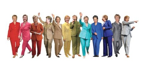 Rainbow of Hillary Clinton pantsuits. Created by Reddit user Bullduke, gone super viral on the web.
