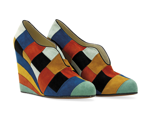 A PAIR OF LIMITED EDITION FERRAGAMO CREATIONS PATCHWORK WEDGES SALVATORE FERRAGAMO, CIRCA 2010