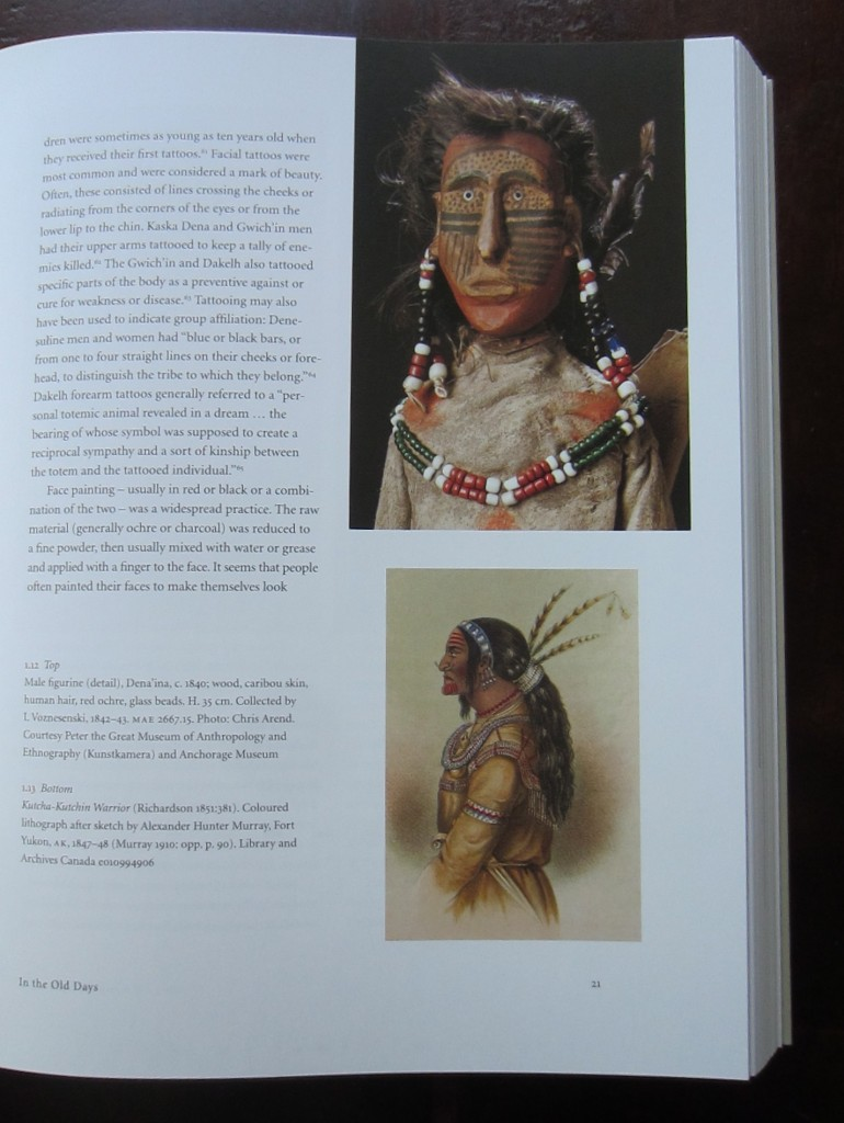 "Page 21 of ""Women's Work, Women's Art"" by Judy Thompson (2013). Top: Dena'ina male figurine (1842) in the Peter the Great Museum of Anthropology and Ethnography and Anchorage Museum. Bottom: ""Kutcha-Kutchin Warrior"" in Richardson 1851, lithograph after a sketch by Alexander Hunter Murray, from the Library and Archives Canada."