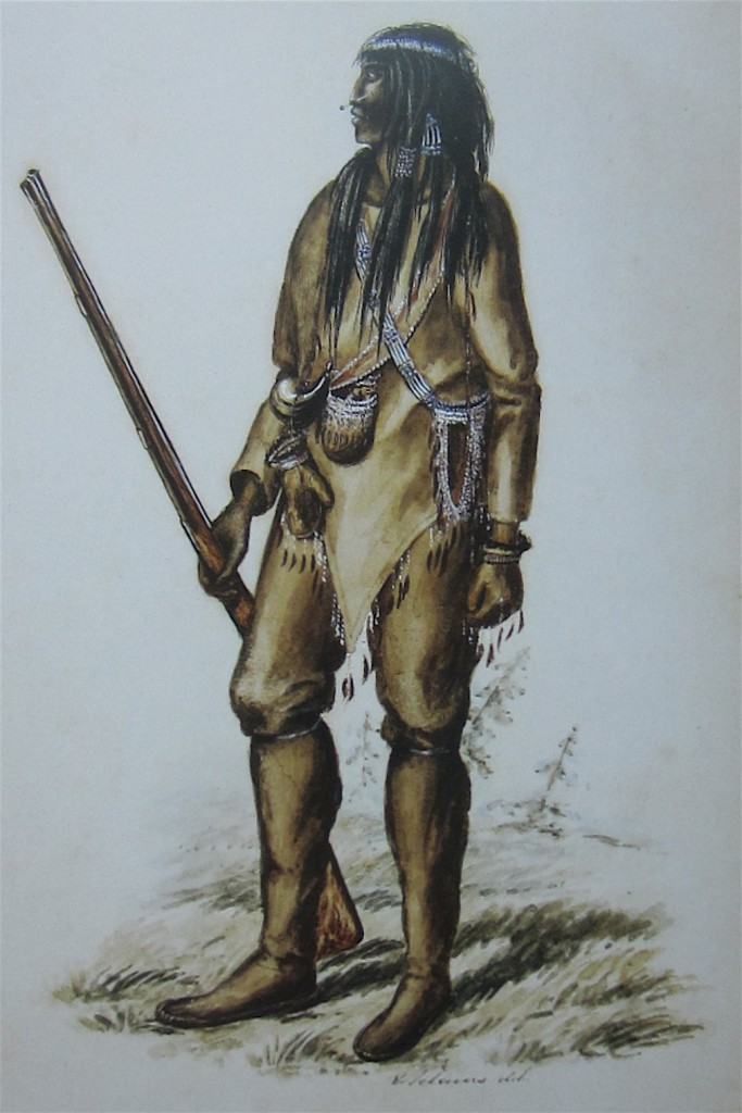 """Tukkuth or Rat Indian [Gwich'in of the upper Porcupine River region]"", probably after a sketch made July 1854, watercolor by Edward Adams. From the Collection of Glenbow Museum, Calgary. Printed in ""Women's Work, Women's Art"" by Judy Thompson, 2013. Page 2."