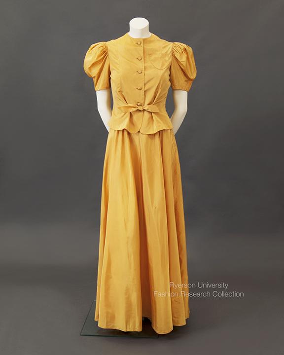 Pumpkin yellow taffeta evening dress with matching jacket, c. 1930s, FRC1993.03.02A+B