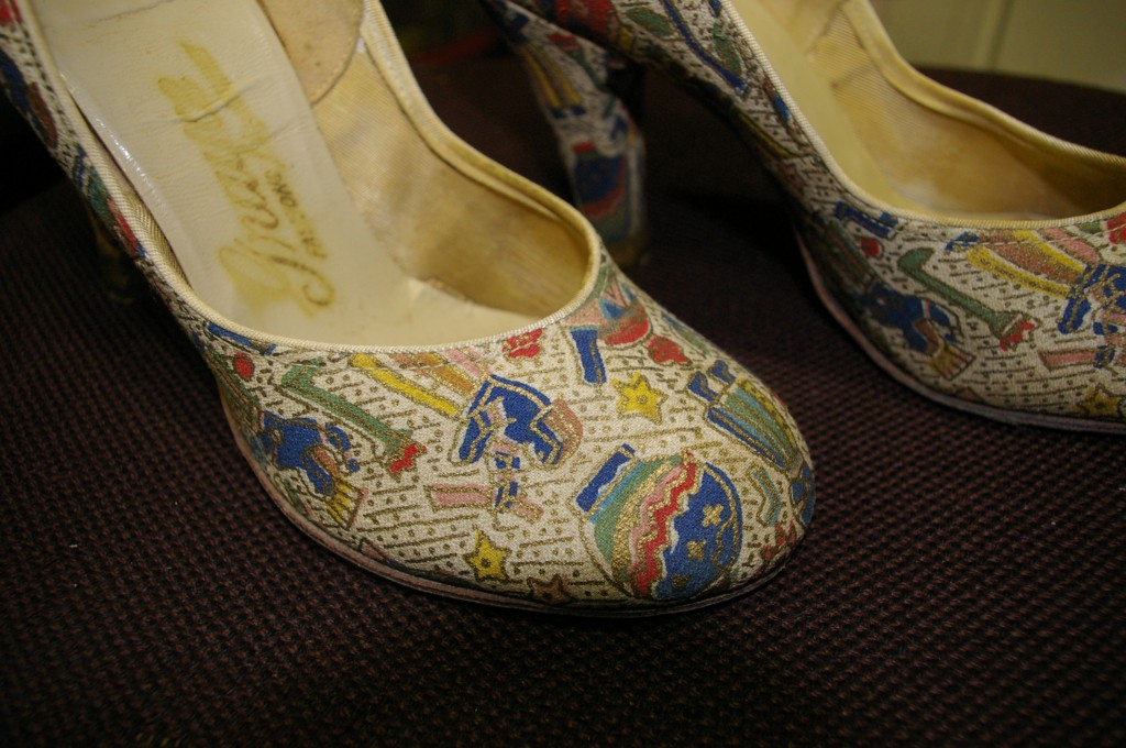 Detail view of Egyptian print on shoes which were ALMOST part of my collection.