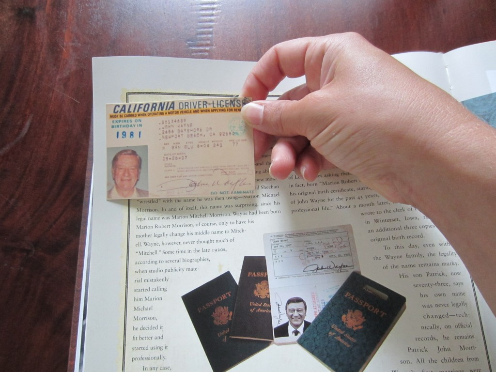 "Reproduction of one of John Wayne's driver's licenses in ""John Wayne: The Genuine Article"" by Michael Goldman, 2013."