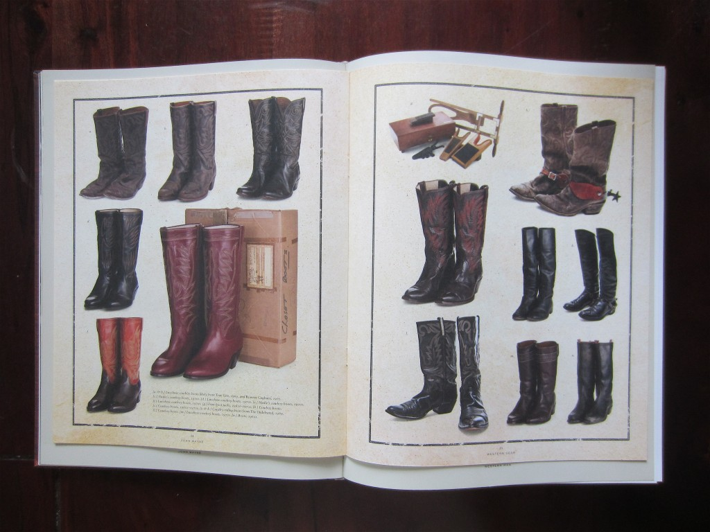 "Selection of cowboy boots John Wayne wore in various films. From ""John Wayne: The Genuine Article"" by Michael Goldman, 2013."