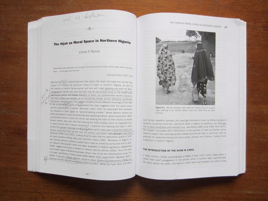 "Typical opening pages of a chapter. From ""African Dress,"" 2013."